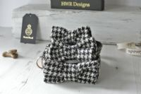 Harris Tweed   Bow tie. Black and White Houndstooth